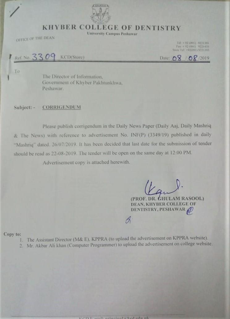 All Tender Documents-KCD Peshawar